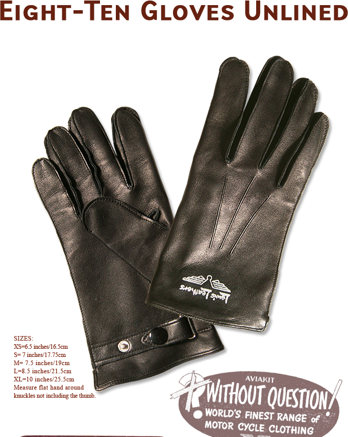 "Lewis Leathers Gloves ""Eight-Ten Unlined"" Black (LL 810)"