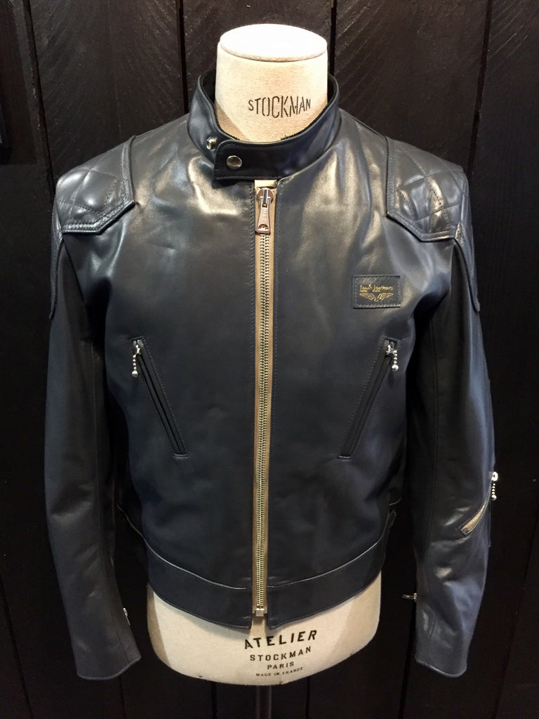 "Lewis Leathers Jacket Men ""Super Phantom"" Navy Horse Beige Zip (LL443-Navy)"