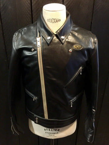 "Lewis Leathers Jacket Men ""Cyclone"" Black Horse Beige Zip (LL 441-Horse-Black)"