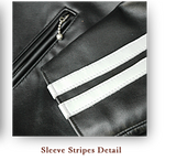 "Lewis Leathers Jacket Men ""Super Sportman-Stripes"" Black-White Cow (LL 68S-Black-Wh/Str)"