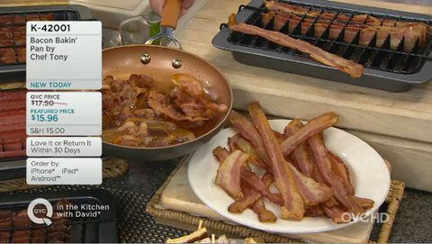 Chef Tony Bacon Baker removes all the grease from the bacon by baking it in the oven.