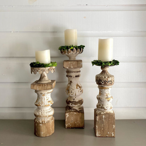 Chipped Candlestick Trio