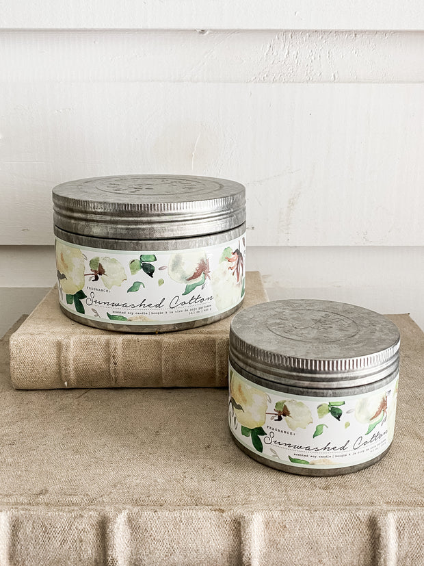 Sunwashed Cotton Tin Candles