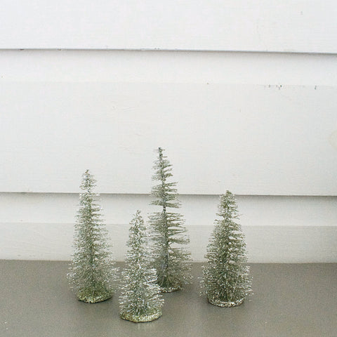 Glittered Bottle Brush Trees