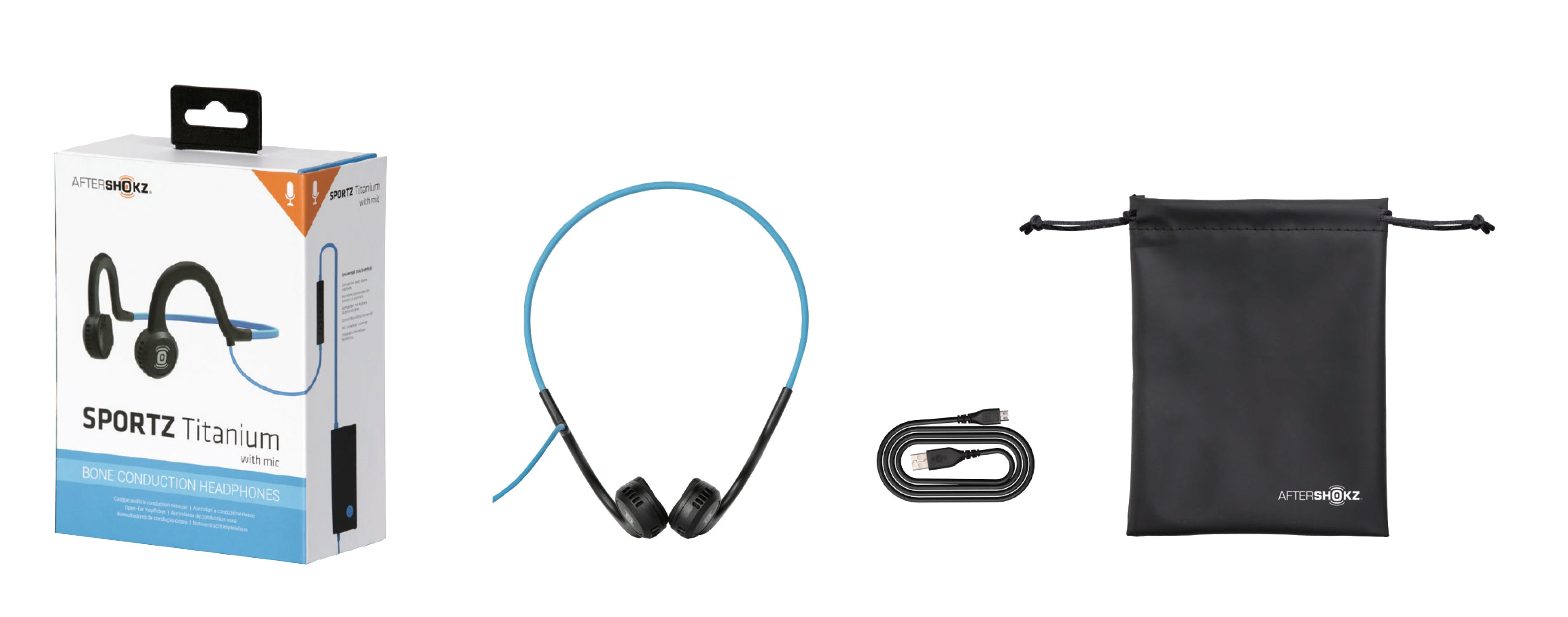 Sportz Titanium with mic, Micro-usb charging cable, and portable pouch