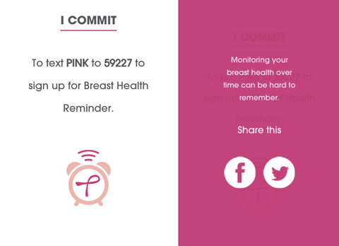 Text PINK to 59227 for monthly breast cancer check reminders