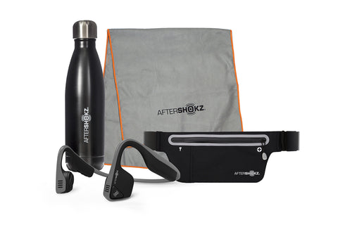 Trekz Titanium, sport belt, sweat towel, and water bottle