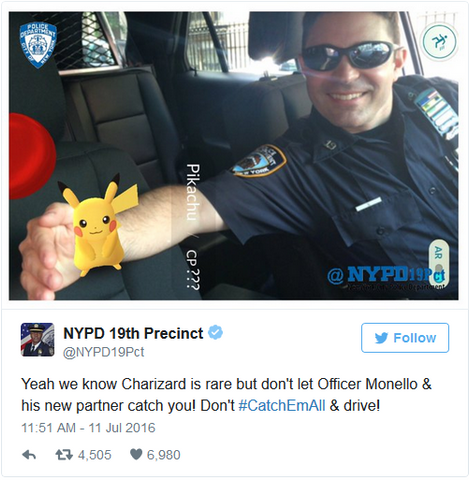 """Yeah we know Charizard is rare but don't let Officer Monello & his new partner catch you! Don't #CatchEmAll & drive!"" - NYPD 19th Precint official Twitter"