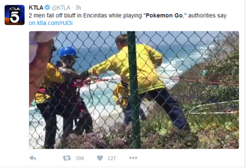 """2 men fall off bluff in Encinitas while playing ""Pokemon Go,"" authorities say on KTLA.com"""