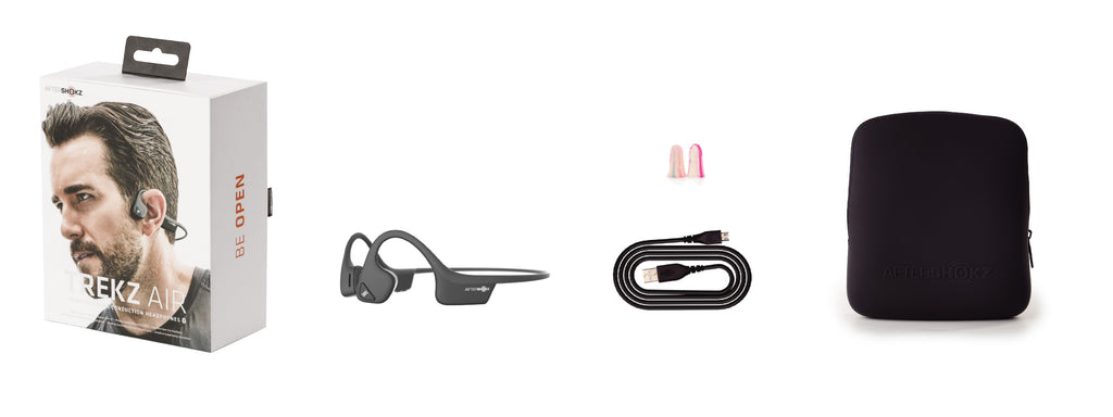 Includes boxed packaging, Trekz air headphones, micro-usb charging cable, ear plugs, and a carrying case.