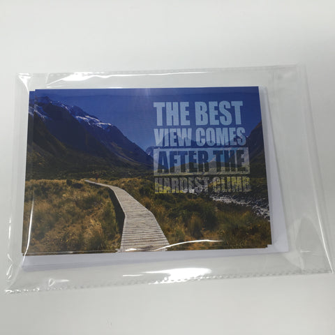Inspirational Scenic Card - The Best View Comes - Pack of 6