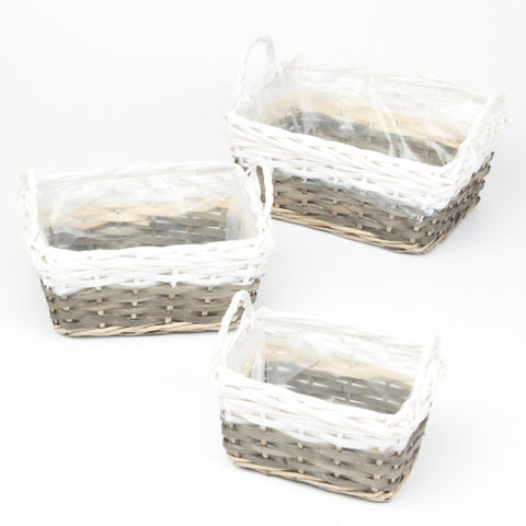 Basket - Set of 3 - Rectangular Grey/White