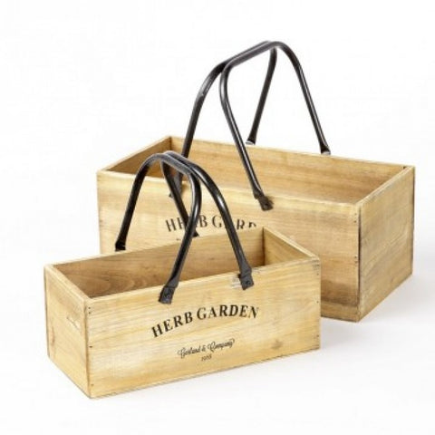 Herb Wooden Boxes with Handles