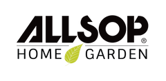 Allsop Home & Garden logo, featuring bold font and green leaf.