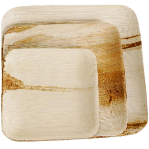 Bamboo Studio Palm Leaf Square Flat Plates in 3 sizes, stylish and sustainable alternative to traditional single-use kitchenware.