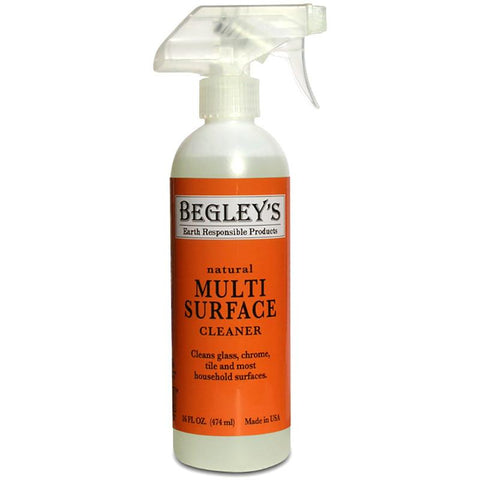 Begley's all-natural Multi-Surface Cleaner in white, recyclable spray bottle, with orange label.