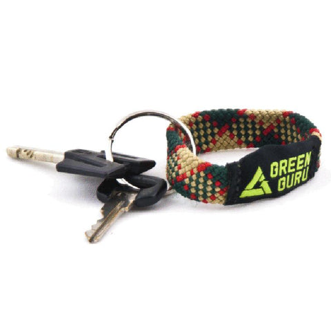 Green Guru key-chain, made of recycled climbing rope, fastened with two keys on included key-ring.