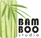 Bamboo Studio logo, featuring name, bamboo leaf and bamboo stem.