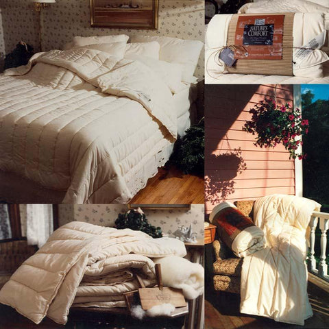 Various pictures of organic wool comforters from St. Peter Woolen Mill on beds, a sustainable and hypoallergenic bedding option.