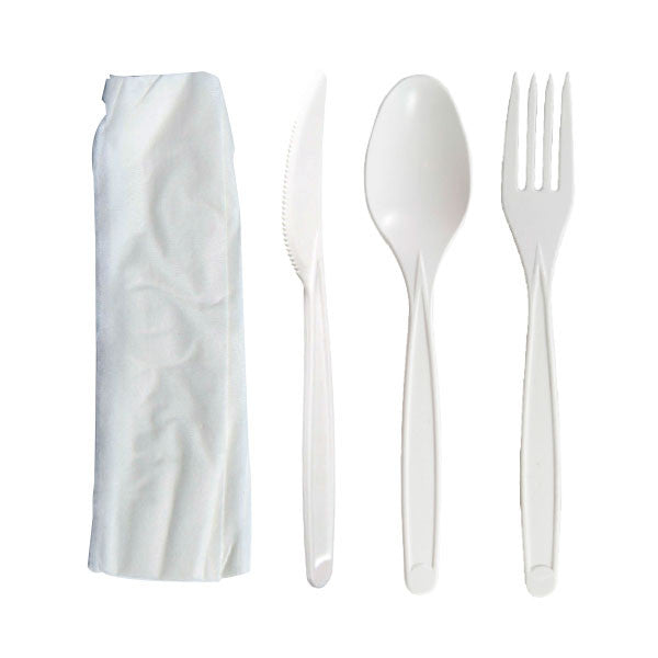Case - Cornstarch (PLA) Cutlery Kit - Fork & Knife & Spoon & Napkin - 7 in