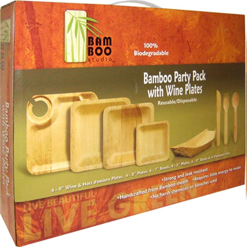 Bamboo Wine Plate Party Pack