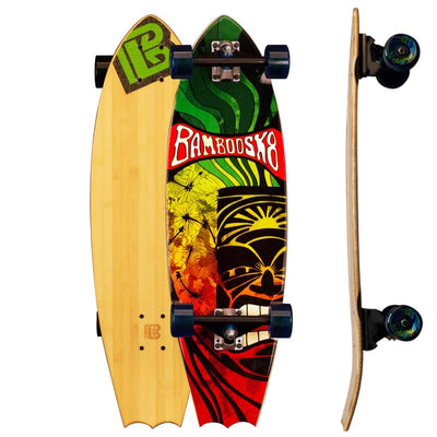 Bat Tail Rasta Tiki Bamboo Skateboards