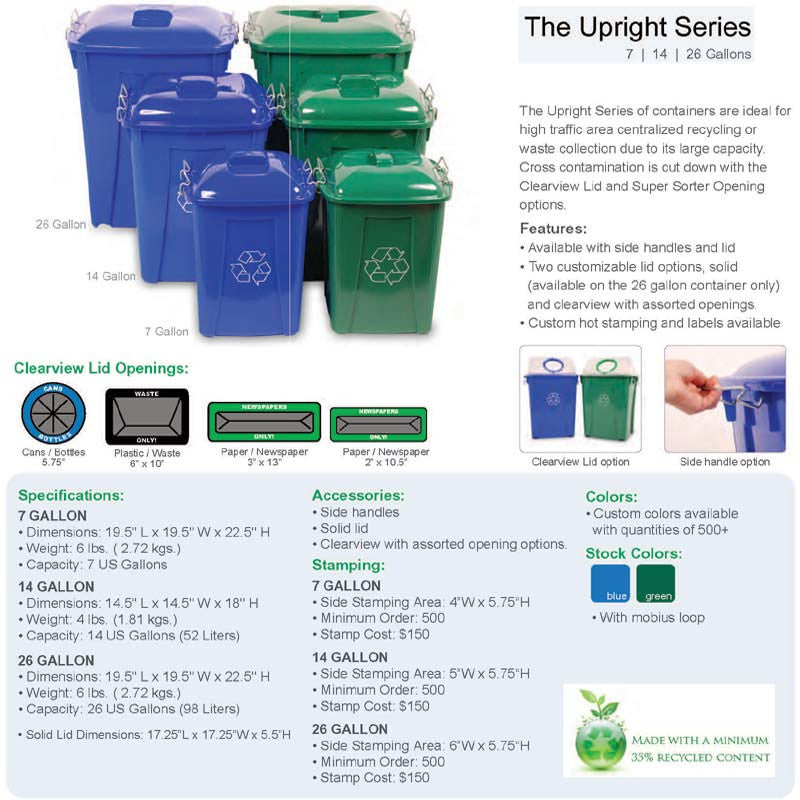 Upright Containers Indoor Recycling And Waste Collection