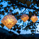 Aurora Glow Solar Glass String Lights White Diamond with Amber LED by Allsop
