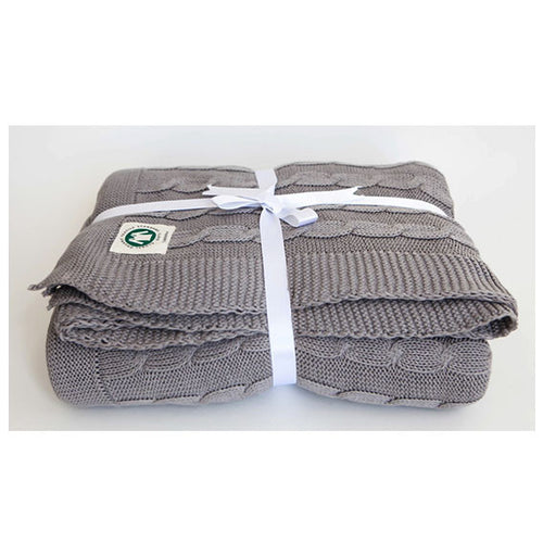 Light Grey Cable Knit Throw by Your Lovely Bedding