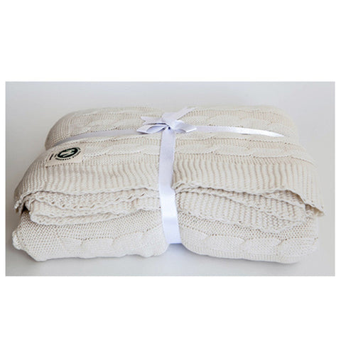 Snow White Cable Knit Throw by Your Lovely Bedding