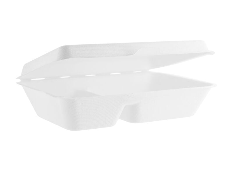 "Vegware Bagasse 9x6"" Two Compartment To-Go Box"