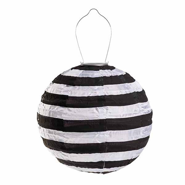 "Soji Printed Black and White Stripe 14"" Special Edition Solar Lantern"