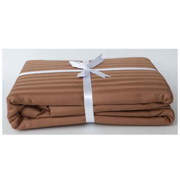 Chocolate Stripe Sateen Duvet Cover Set by Your Lovely Bedding