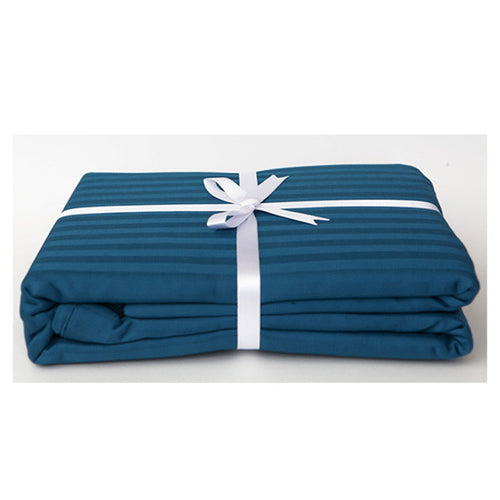 Moroccan Blue Stripe Sateen Duvet Cover Set by Your Lovely Bedding