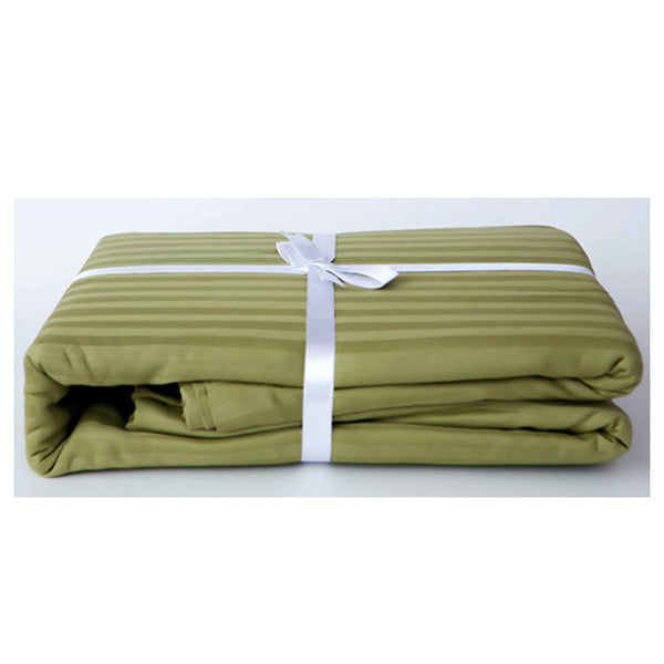 Olive Green Stripe Sateen Duvet Cover Set by Your Loving Bedding