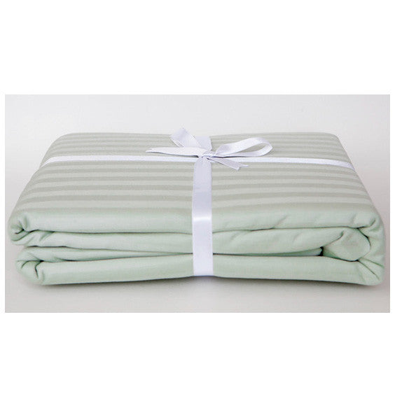 Sea Foam Stripe Sateen Duvet Cover Set by Your Lovely Bedding