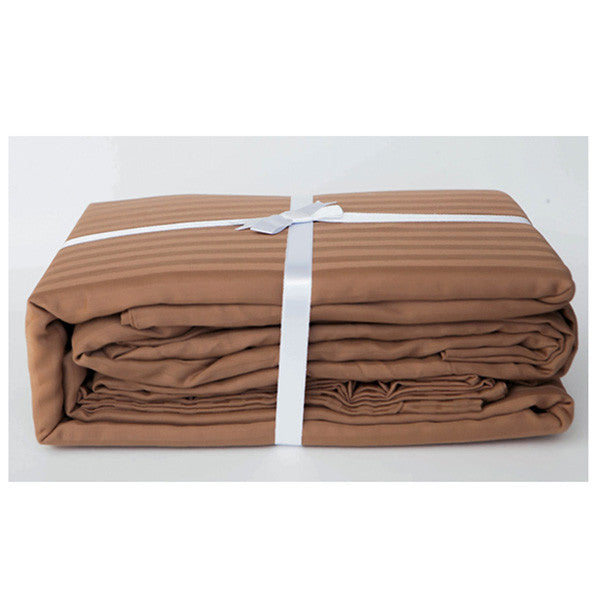 Chocolate Stripe Sateen Sheet Set by Your Lovely Bedding