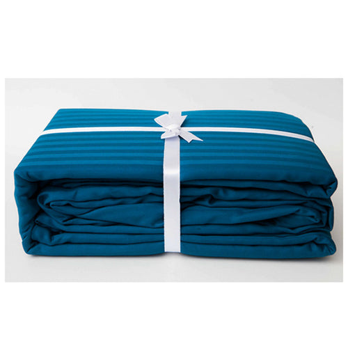 Moroccan Blue Stripe Sateen Sheet Set by Your Love Bedding