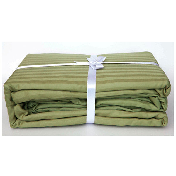 Olive Green Stripe Sateen Sheet Set by Your Lovely Bedding
