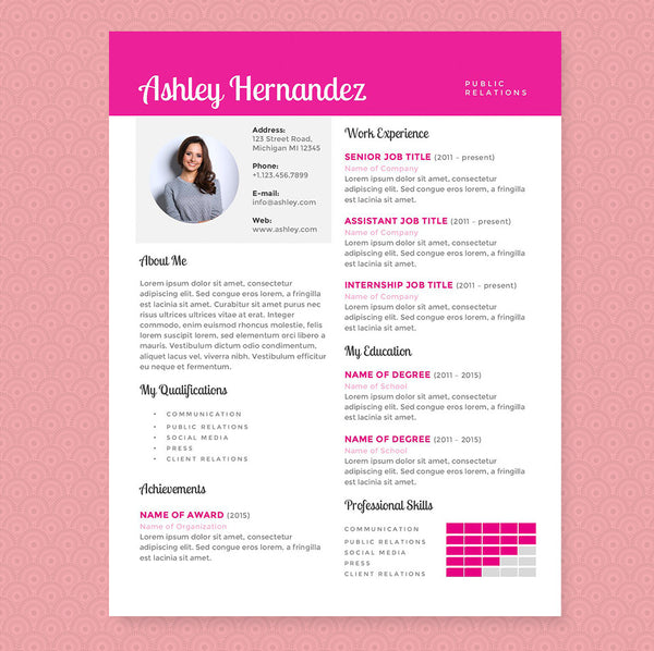 Pink Public Relations Resume Cv Template