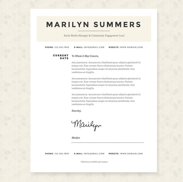 Resume Cover Letter To Whom It May