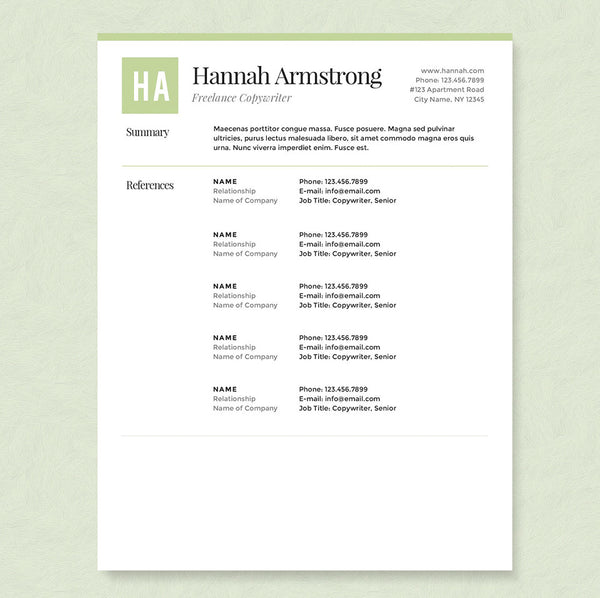 Green Freelancer Resume Cover Letter References Template Package