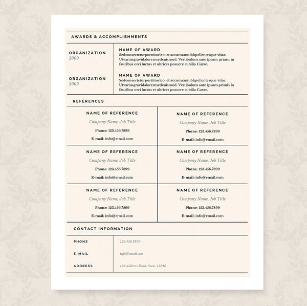 grid resume cover letter references template package