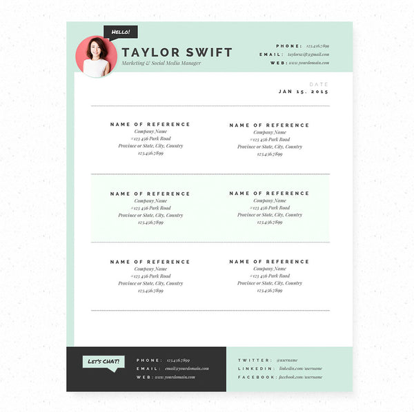 Mint Resume, Cover Letter & References Template Package – Janna Hagan