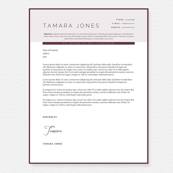 Plum Resume Cover Letter Amp References Template Package