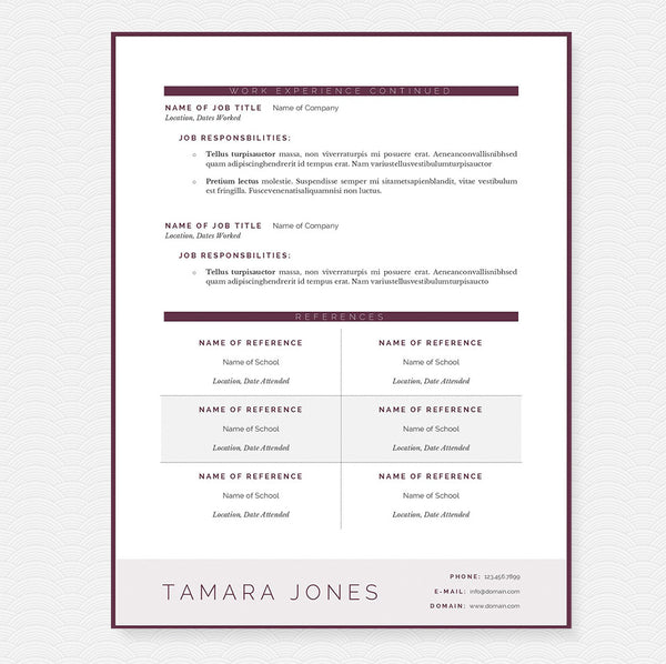Plum Resume, Cover Letter & References Template Package – Janna Hagan