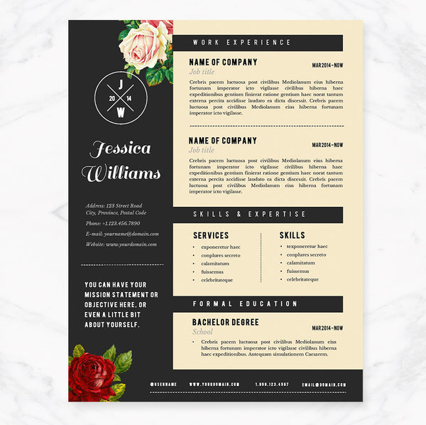 Hipster Resume Cover Letter Template Package