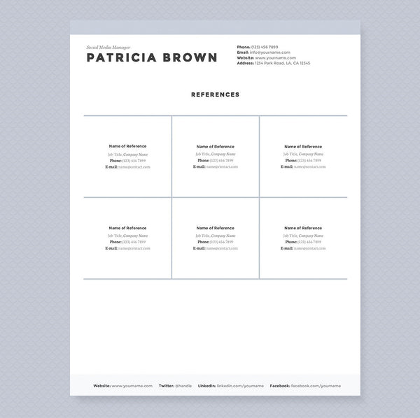 clean resume cover letter references template package. Resume Example. Resume CV Cover Letter