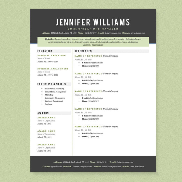 green resume template cv resume template - Resume Templates It Professional