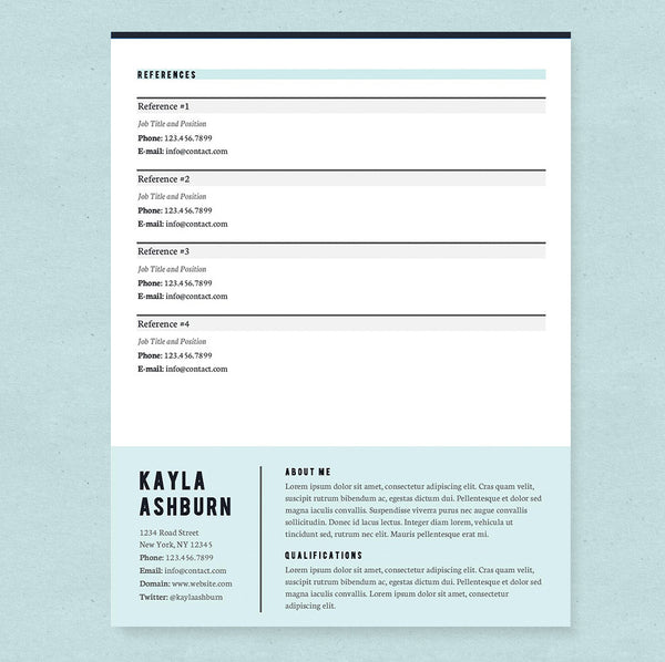 stylish blue resume cover letter references template package - Cover Letter Template